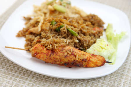 Thai food with Fried rice and Satay photo