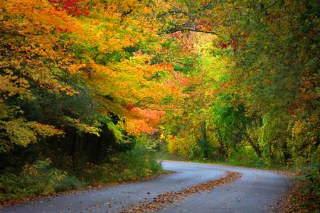back roads: Beautiful autumn drive Stock Photo