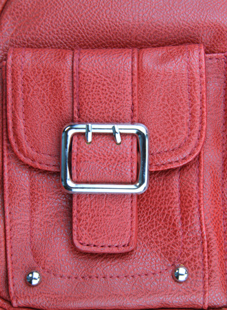red purse: Buckle of red leather purse Stock Photo