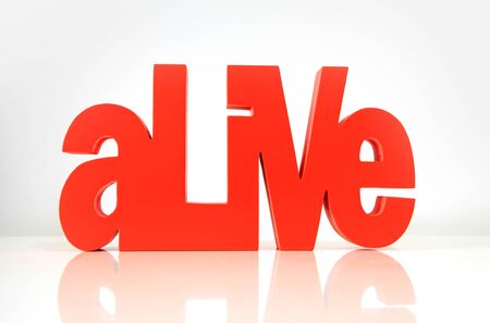 exist: Close up shot of red Alive wording on white background Stock Photo