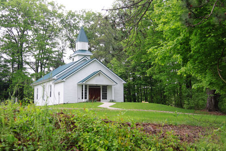 northeast ohio: Small church in middle of hocking hills, Ohio Stock Photo