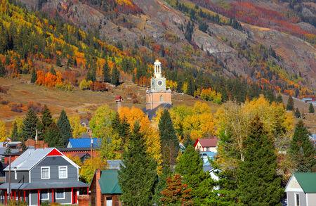 mining town: Scenic Silverton cityscape in autumn time