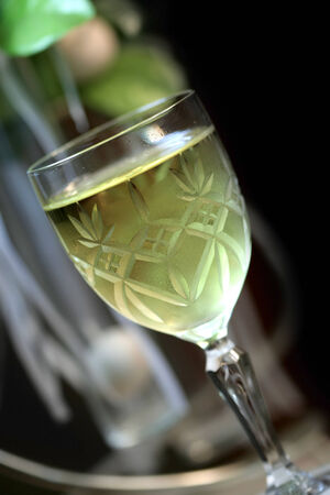 tannin: White wine glass with shallow depth of field