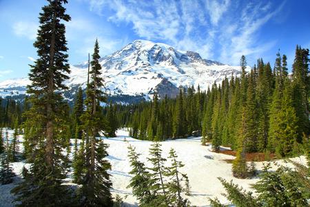 MOUNT RAINIER: snow covered Mount Rainier