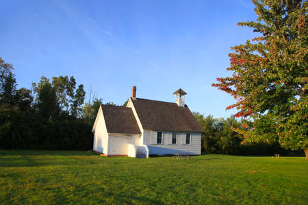 steeples: Small historic church in the state of Michigan Stock Photo