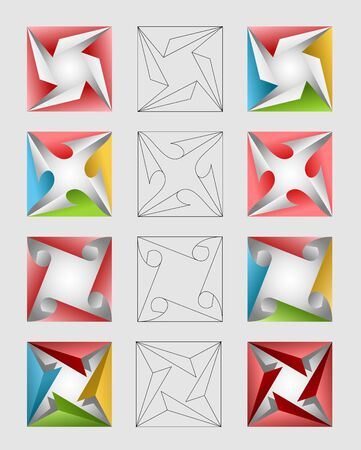 An illustration of colorful square design elements 일러스트