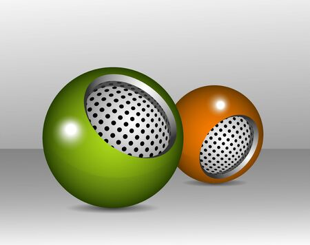 An illustration of two spherical design elements