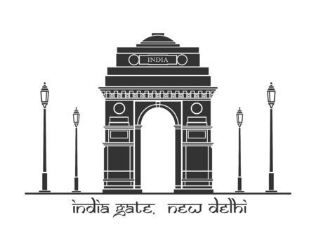 india gate: An illustration of India Gate in New Delhi, India Illustration