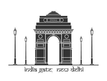 An illustration of India Gate in New Delhi, India Illustration