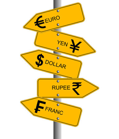 decline in values: An illustration showing arrows of different currency direction