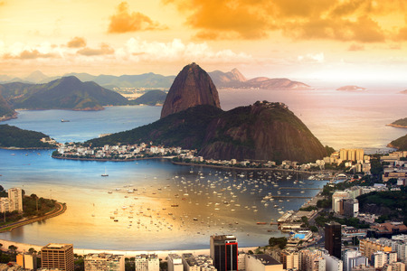 Rio De Janeiro, Brazil in twilight Banco de Imagens