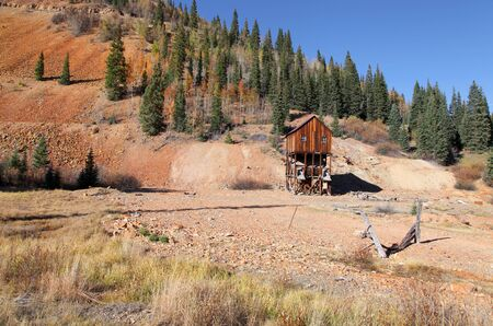 ouray: Old abandoned mining shaft in Colorado on Million dollar highway