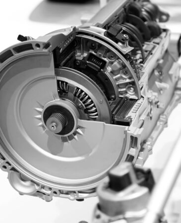 pistons: Sectional view of automotive engine Stock Photo