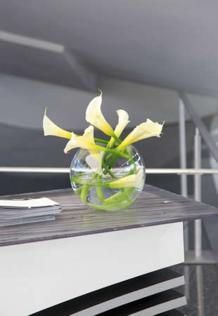 front desk: White Lily flower vase on front desk