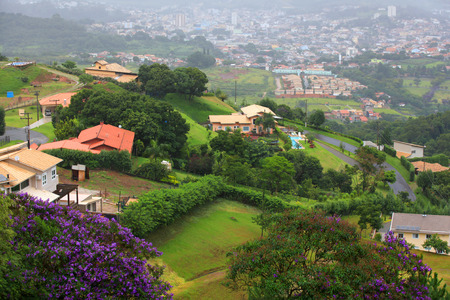 conglomeration: Scenic misty Sao Roque city, in Brazil Stock Photo