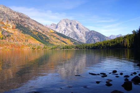 Reflections of Grand Tetons in Jenny lake photo