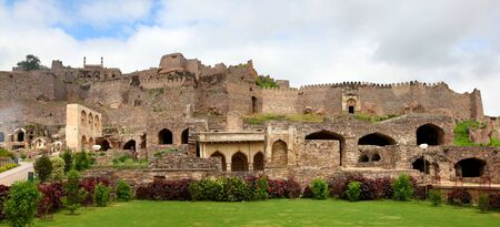golconda: Panoramic view of Historic Golkonda fort in Hyderabad India Editorial