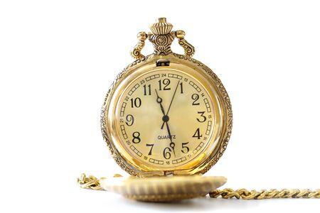 gold watch: Golden antique watch against white background