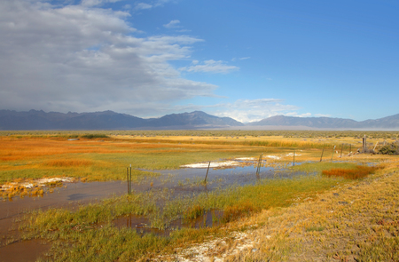colorado state: Prairie landscape with pond in Colorado state