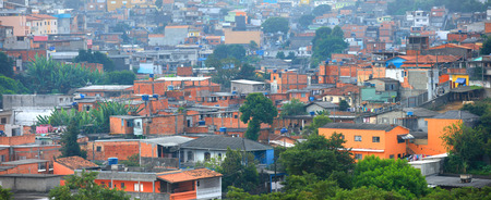 conglomeration: Panoramic view of massive favela in Sao Paulo