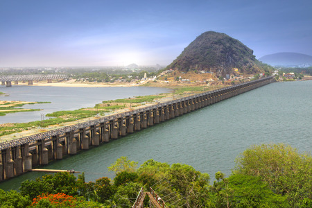 krishna: Prakasam Barrage in Vijayawada India