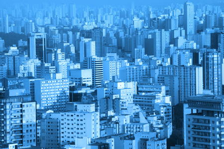 arial: Arial view of bustling Sao Paulo cityscape