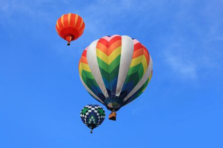hot air balloons festival: Colorful hot air balloons in the air Stock Photo