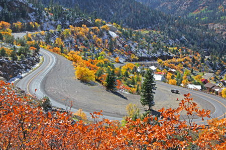ouray: US route 550 ,Also known as Million dollar highway in Colorado Stock Photo