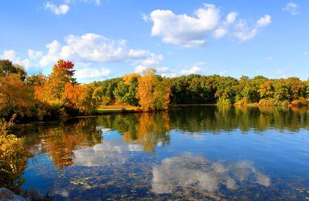 Autumn reflections in Kent lake Michigan Stock Photo