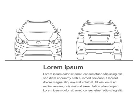 Line art of front and back views of the car Vektorové ilustrace