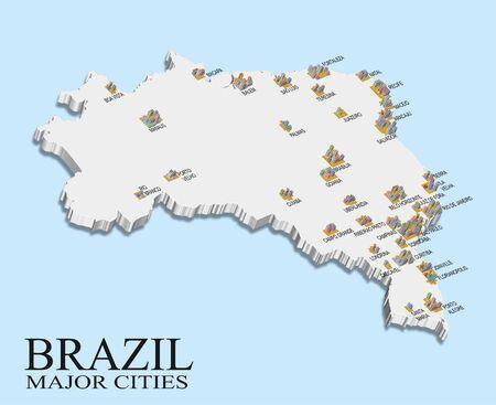 ブラジルの都市の人口地図 写真素材 - 45934818