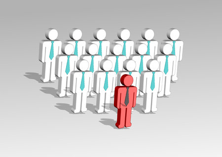 symbol: 3d illustration of a group of employees and  their leader Stock Photo