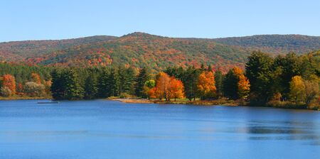 allegheny: Allegheny river landscape in autumn time Stock Photo