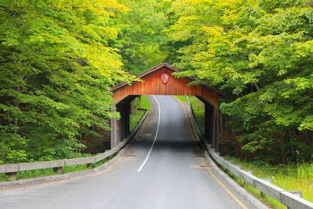 covered bridge': Covered bridge,Michigan Stock Photo