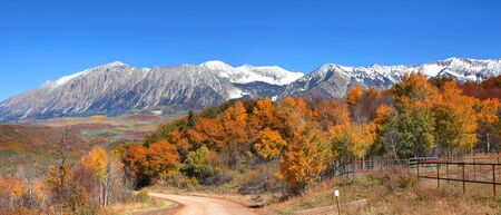 pass on: Autumn landscape at Kebler pass in Colorado