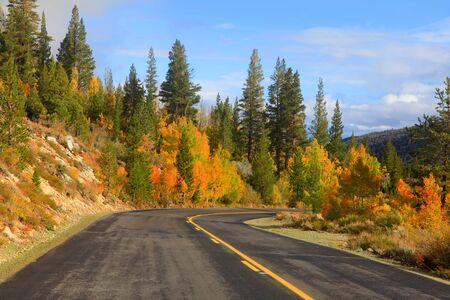 sierras: Scenic autumn drive in eastern Sierra mountains