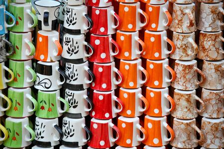 hand crafted: Many colorful hand crafted cups