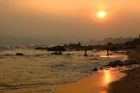 sun: Sun set over Visakhapatnam beach