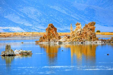 mono: Tall tufa formations in Mono lake California