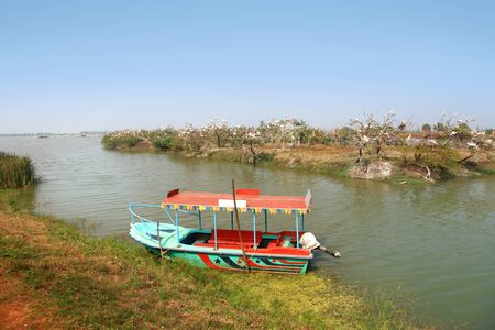 Colorful boat at kolleru lake and bird sanctuary in India