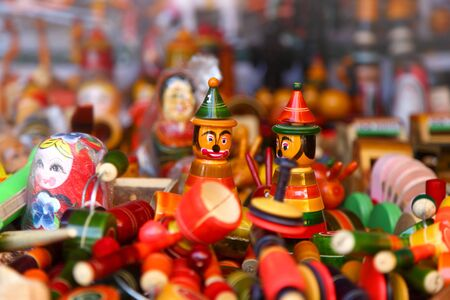 articles: close up shot of colorful handicrafts of India Stock Photo