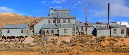 old mining building: Panoramic view of Ghost town Bodie in California. Stock Photo