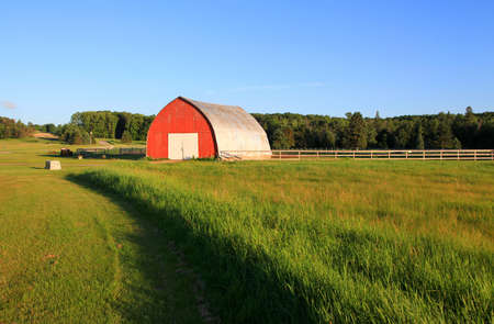 red barn: Small red barn in the farm
