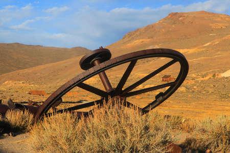 bodie: Old wagon wheel in Bodie California Stock Photo