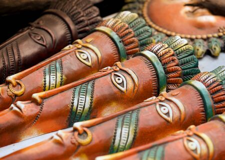 hand crafted: Hand crafted clay masks of India
