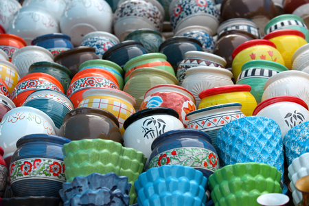 hand crafted: Colorful hand crafted pots up for sale Stock Photo