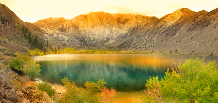 convict: Panoramic view of Convict lake in eastern Sierra mountains. Stock Photo