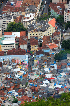 deficient: Aerial view of Rio favela