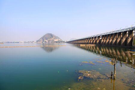 barrage: Historic Prakasam barrage bridge in India