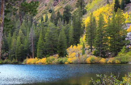 mammoth lakes: Eastern Sierra mountain lake in autumn time